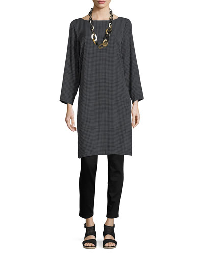 Grid-Print Silk Crepe Tunic and Matching Items