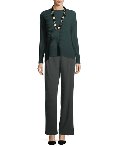 Seamless Ribbed Italian Cashmere Sweater, Plus Size and Matching Items