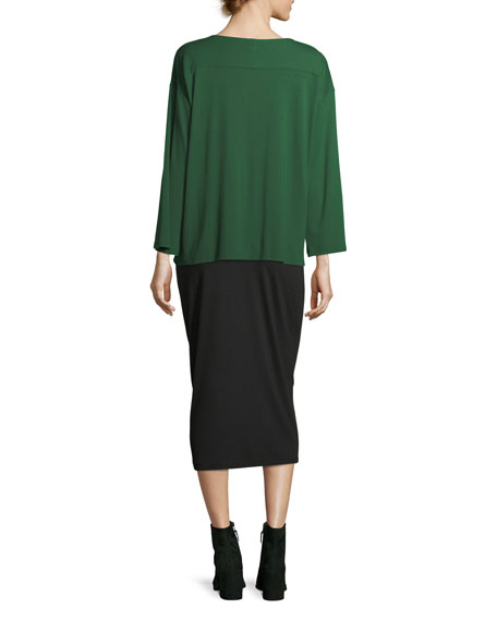 Fold-Over Knee-Length Pencil Skirt