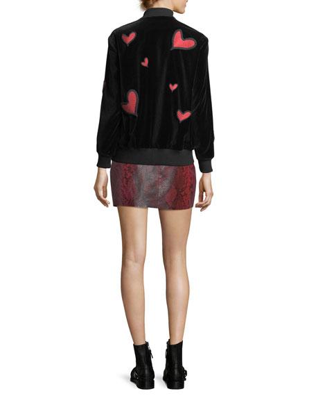 Lila Embroidered Patch Oversized Velvet Bomber Jacket