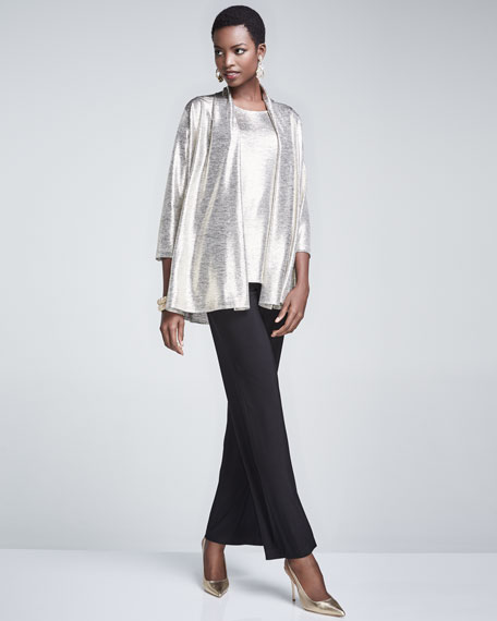 Reflection Knit Metallic Easy Cardigan, Plus Size