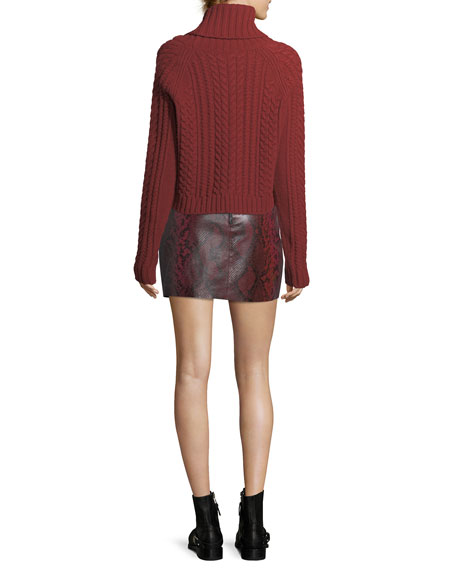 Elana Printed Lamb Leather Mini Skirt