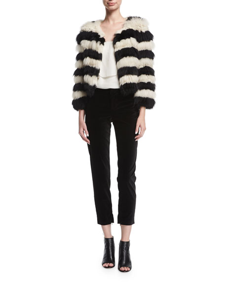 Fawn Long-Sleeve Striped Fur Jacket