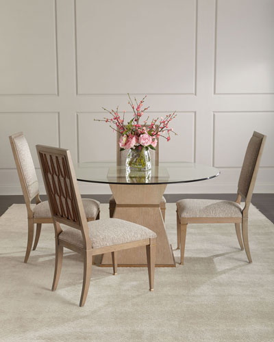 Sparrow Round Glass-Top Dining Table and Matching Items
