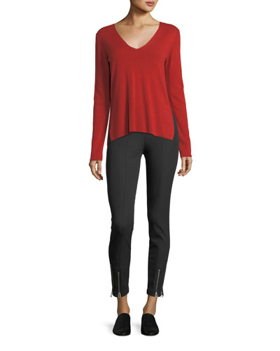Stretch-Cotton Fitted Pants w/ Ankle Zippers and Matching Items