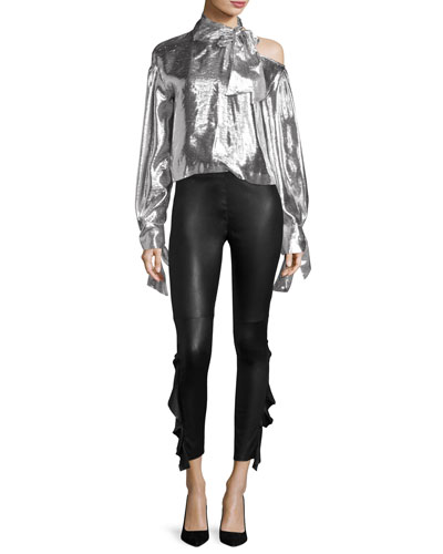 Harjava Tie-Neck Cold-Shoulder Metallic Top and Matching Items