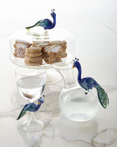Peacock Carafe and Matching Items