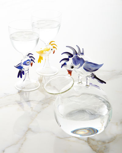 Parrot Stem Glass, Blue and Matching Items