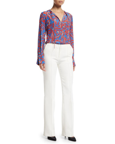 Long-Sleeve Tie-Front Silk Blouse and Matching Items