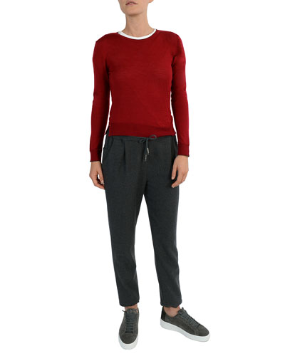 Stretch-Wool Drawstring Jogger Pants and Matching Items