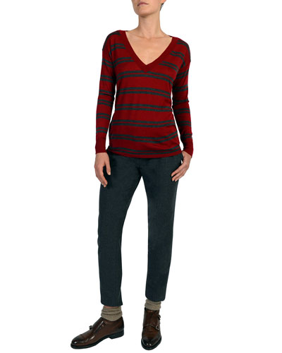 Striped V-Neck Wool-Blend Sweater and Matching Items