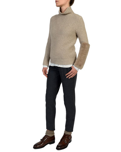 Slim-Leg Stretch-Wool Trousers and Matching Items