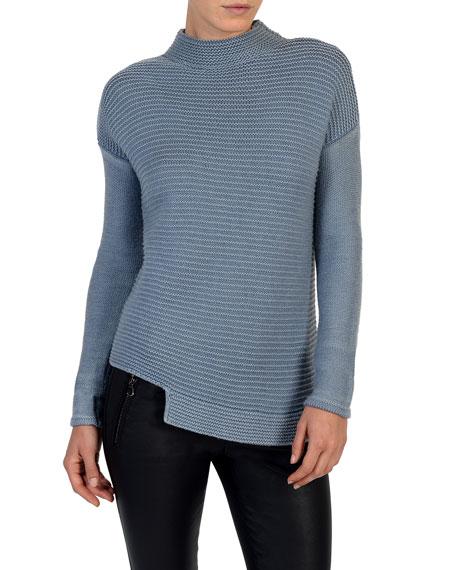Mock-Neck Garment-Dyed Wool Sweater
