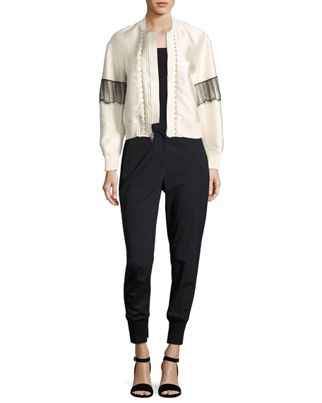 Lightweight Stretch Wool Track Pants, Black