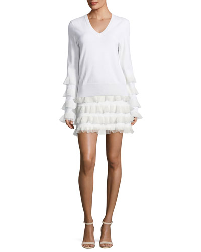 V-Neck Long-Sleeve Wool Sweater w/ Ruffled Trim and Matching Items
