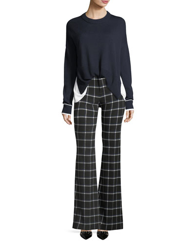 High-Waist Grid-Print Flared-Leg Crepe Pants and Matching Items