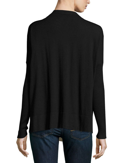 Modal-Blend V-Neck Button-Front Cardigan Sweater