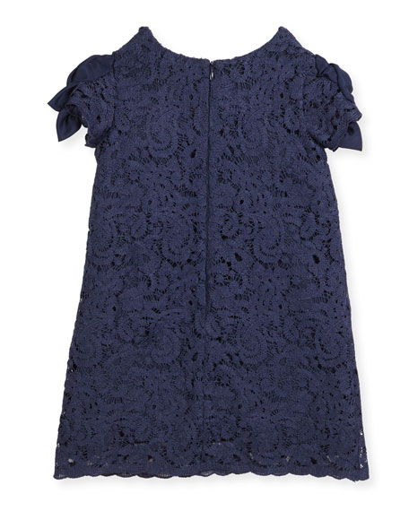 Daria Lace Dress w/ Rosette Sleeves, Size 2-4
