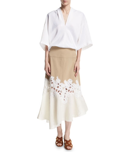 Lace-Inset Cotton Twill Midi Skirt and Matching Items