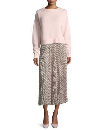 Basketweave-Print Pleated Midi Skirt and Matching Items