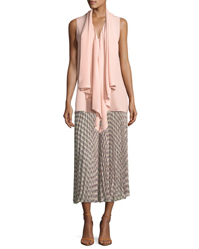 Basketweave-Print Pleated Midi Skirt and Matching Items