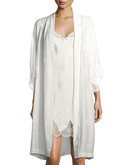Bridal Lace Trim Silk Robe