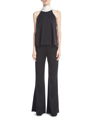 Signature High-Waist Satin Flare-Leg Pants and Matching Items