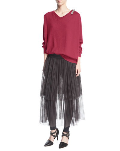 Layered Tulle Midi Skirt with Leggings and Matching Items