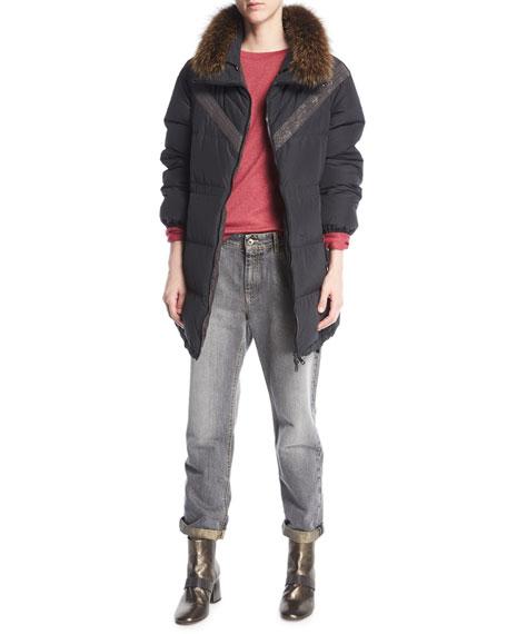 High-Waist Boyfriend Jeans, Gray