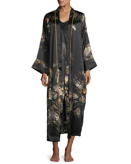 Sofia Floral-Print Long Silk Robe