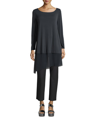 Bateau-Neck Layered Tunic w/ Asymmetric Sheer Hem, Petite and Matching Items