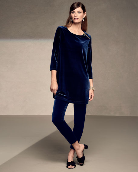 3/4-Sleeve Velour Tunic W/ Zipper Detail, Plus Size
