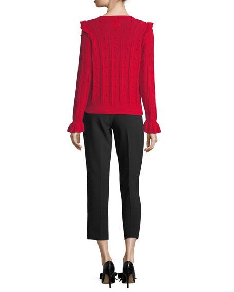 ruffle-yoke textured wool-blend sweater