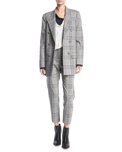 Plaid Double-Breasted Blazer and Matching Items
