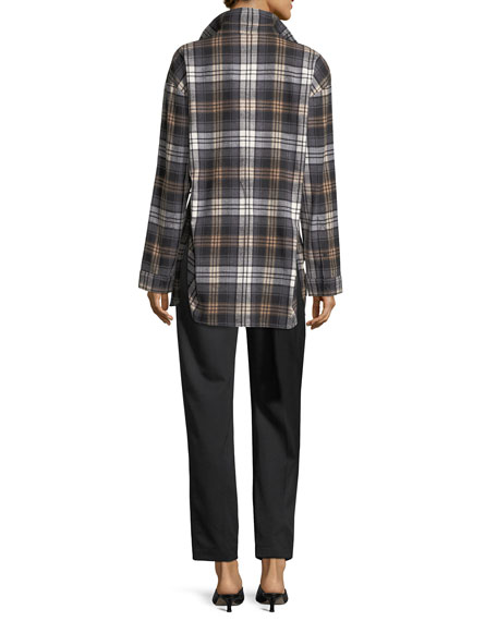 Oversized Plaid Shirt with Tie Detail