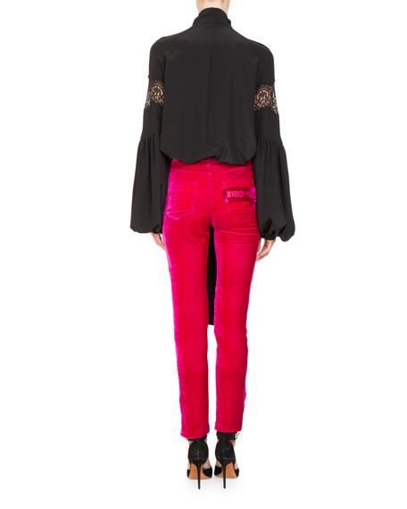 Blouson-Sleeve Silk Georgette Blouse w/ Lace Insets