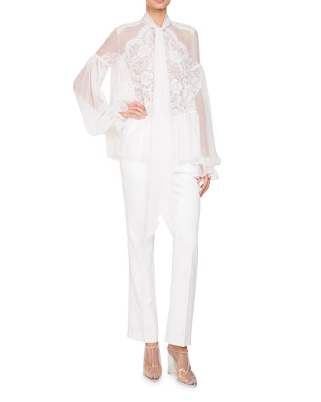 Long-Sleeve Flounce-Hem Sheer Silk Georgette Blouse w/ Lace