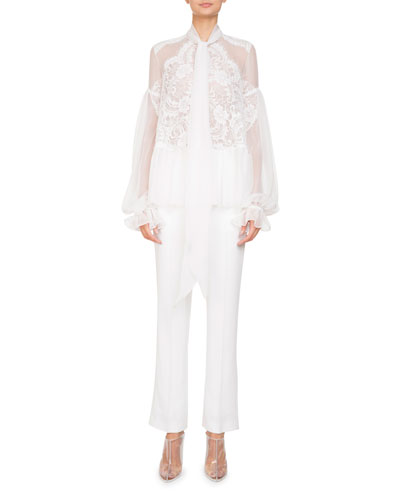 Long-Sleeve Flounce-Hem Sheer Silk Georgette Blouse w/ Lace and Matching Items