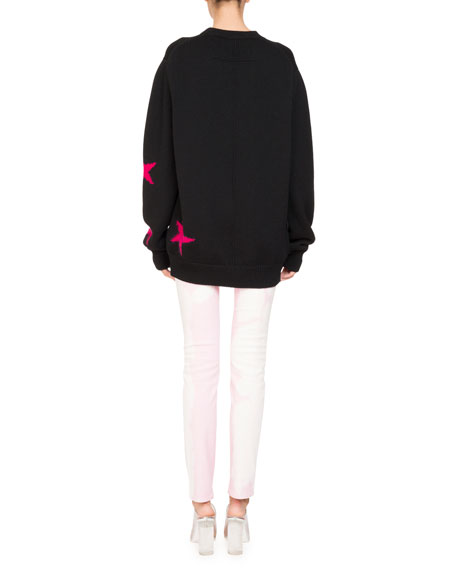 Star Knit Crewneck Oversize Sweater