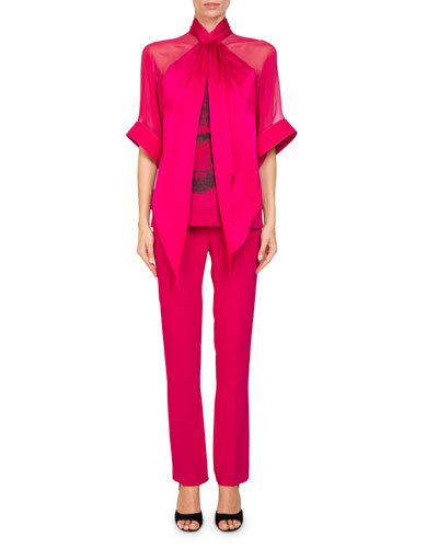 Straight-Leg Cady-Stretch Pants and Matching Items