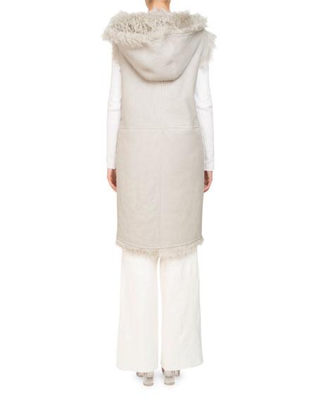 Sleeveless Reversible Hooded Shearling Long Vest
