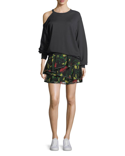 Floral-Print Ruffled Silk Miniskirt and Matching Items