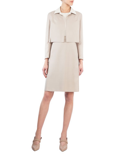 Open-Front Long-Sleeve Cropped Wool-Silk Jacket and Matching Items