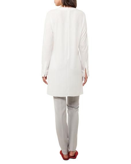 Crewneck Long-Sleeve Asymmetric-Seams Silk-Crepe Tunic