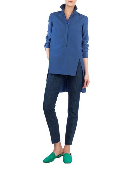 Melissa Side-Zip Slim-Leg Stretch-Denim Pants