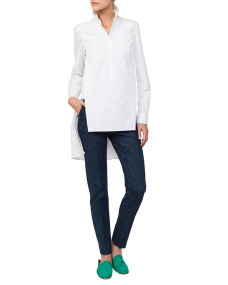 Long Button-Front Cotton Poplin Tunic Blouse