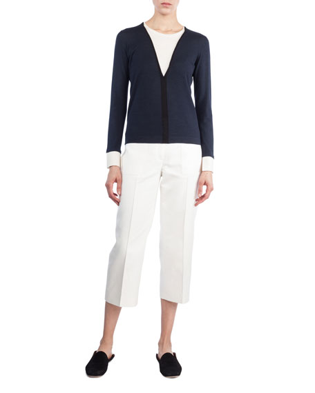 V-Inset Long-Sleeve Wool-Silk Top
