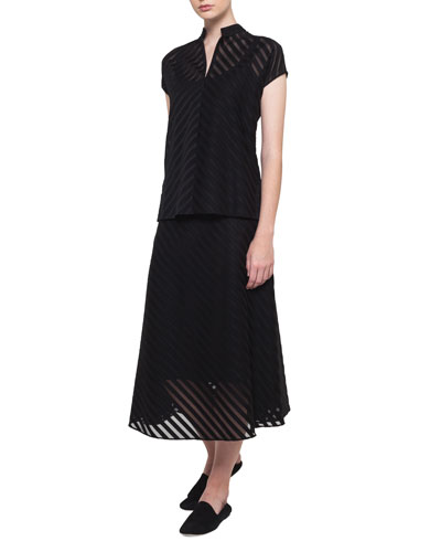 Zip-Front Cap-Sleeve Diagonal Jacquard Cotton Voile Blouse and Matching Items