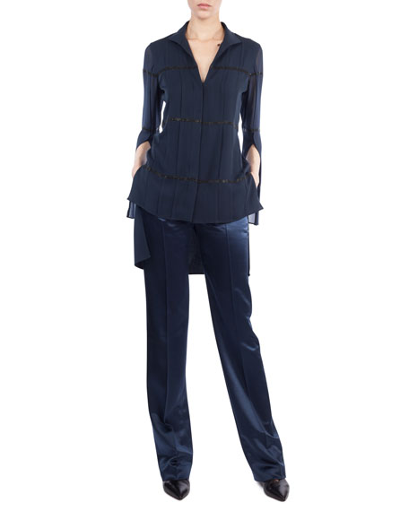 V-Neck Button-Front Silk Crepe Blouse w/ Embellished Stripes