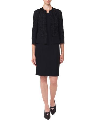 Round-Neck Sleeveless Crepe Sheath Dress and Matching Items